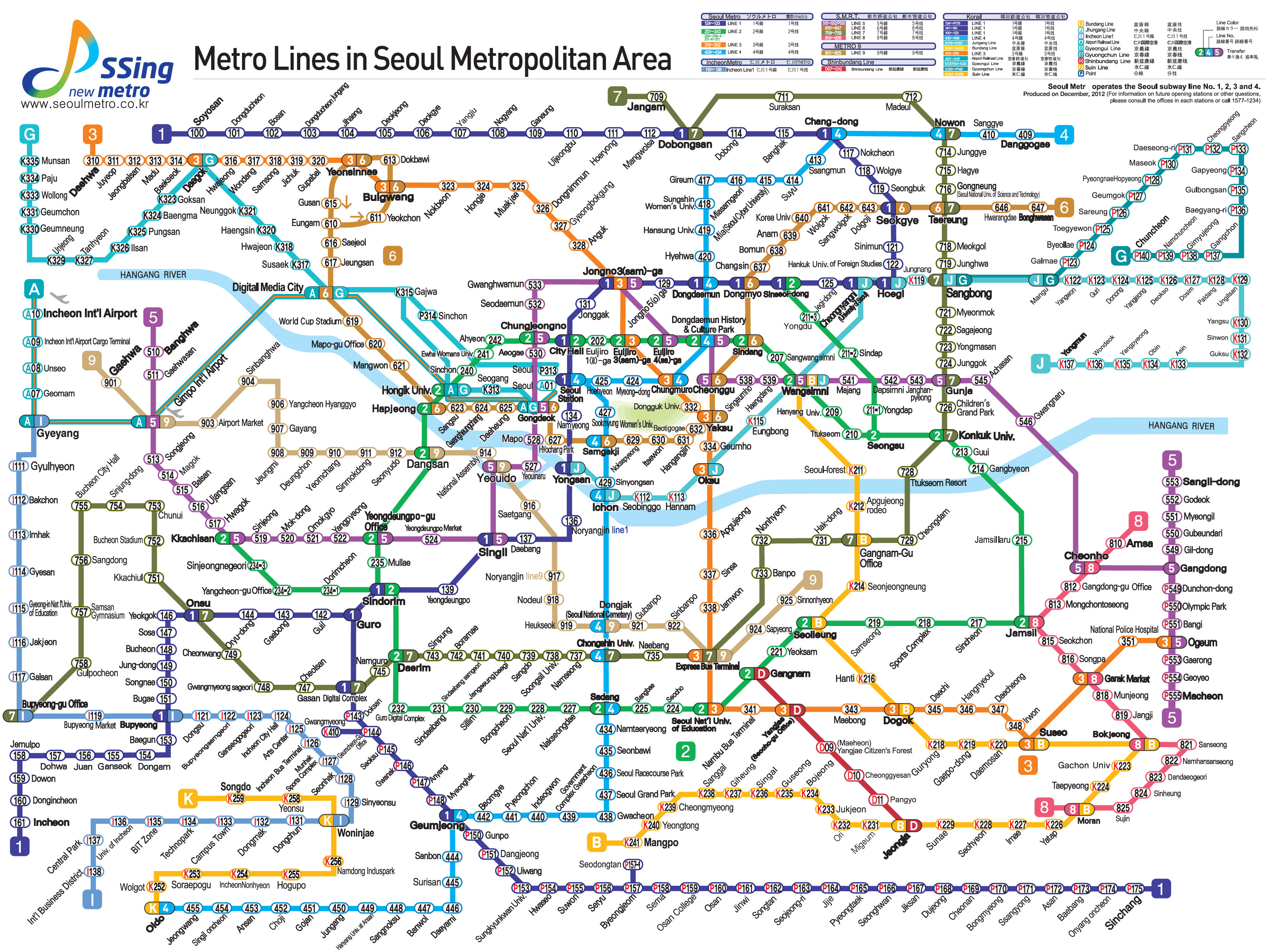 Eoul Subway Map.Package Korea Info Seoul Subway Map
